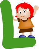 Lettre L (fille) d'alphabet Images stock