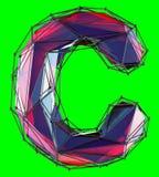 Lettre latine capitale C dans la couleur rouge de bas poly style d'isolement sur le fond vert Photographie stock libre de droits