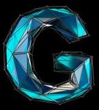 Lettre latine capitale G dans la couleur bleue de bas poly style d'isolement sur le fond noir Images libres de droits