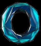 Lettre latine capitale O dans la couleur bleue de bas poly style d'isolement sur le fond noir Photos libres de droits