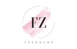 Lettre Logo Design d'aquarelle de FZ F Z avec le modèle circulaire de brosse Images libres de droits