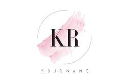 Lettre Logo Design d'aquarelle de Kr K R avec le modèle circulaire de brosse Photo libre de droits