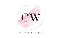 Lettre Logo Design d'aquarelle de l'onde entretenue C W avec le modèle circulaire de brosse Image stock
