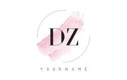Lettre Logo Design d'aquarelle de la DZ D Z avec le modèle circulaire de brosse Photographie stock libre de droits