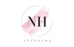 Lettre Logo Design d'aquarelle de NH N H avec le modèle circulaire de brosse Photo libre de droits