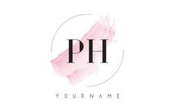 Lettre Logo Design d'aquarelle de pH P H avec le modèle circulaire de brosse Image stock