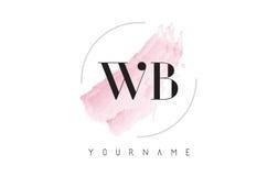 Lettre Logo Design d'aquarelle de WB W B avec le modèle circulaire de brosse Images libres de droits