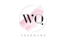 Lettre Logo Design d'aquarelle de WQ W Q avec le modèle circulaire de brosse Photographie stock libre de droits