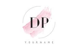 Lettre Logo Design d'aquarelle du DP D P avec le modèle circulaire de brosse Image stock