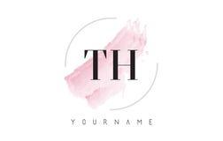 Lettre Logo Design d'aquarelle du TH T H avec le modèle circulaire de brosse Images stock