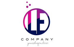 Lettre Logo Design de cercle de LE L E avec Dots Bubbles pourpre Photo stock