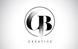 Lettre Logo Design de course de brosse de CB Peinture noire Logo Leters Icon Image stock