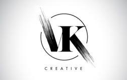 Lettre Logo Design de course de brosse de VK Peinture noire Logo Letters Icon Image stock