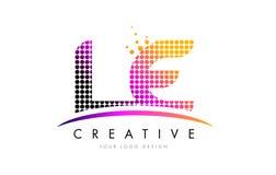 Lettre Logo Design de LE L E avec les points et le bruissement magenta Images libres de droits