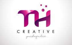 Lettre Logo Design de TH avec des couleurs pourpres et des points Images libres de droits