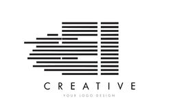 Lettre Logo Design de zèbre d'E-I E-I avec les rayures noires et blanches Photo stock