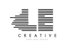 Lettre Logo Design de zèbre de LE L E avec les rayures noires et blanches Photographie stock