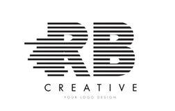 Lettre Logo Design de zèbre du RB R B avec les rayures noires et blanches Images stock