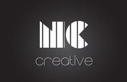 Lettre Logo Design With White d'OR N C et lignes noires Images stock