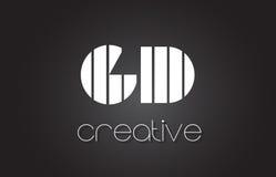 Lettre Logo Design With White de GD G D et lignes noires Photographie stock