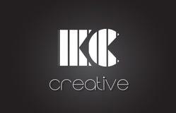 Lettre Logo Design With White de kc K C et lignes noires Photos libres de droits