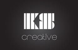 Lettre Logo Design With White de KS K S et lignes noires Images libres de droits