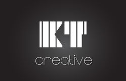 Lettre Logo Design With White de KT K T et lignes noires Images libres de droits