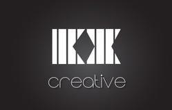 Lettre Logo Design With White de KX K X et lignes noires Images libres de droits