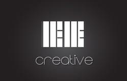 Lettre Logo Design With White de l'EE E E et lignes noires Image stock