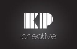 Lettre Logo Design With White de la KP K P et lignes noires Photographie stock