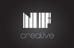 Lettre Logo Design With White de N-F N-F et lignes noires Photographie stock