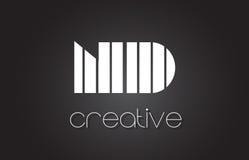 Lettre Logo Design With White de ND N D et lignes noires Photos stock