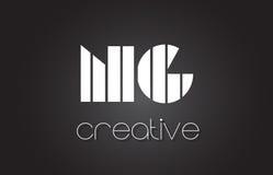 Lettre Logo Design With White de NG N G et lignes noires Images stock