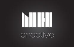 Lettre Logo Design With White de NH N H et lignes noires Photographie stock