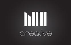 Lettre Logo Design With White de Ni N I et lignes noires Photographie stock libre de droits