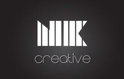 Lettre Logo Design With White de NK N K et lignes noires Photo libre de droits