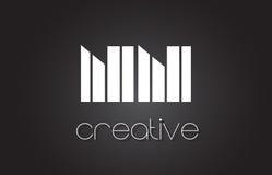 Lettre Logo Design With White de NN N et lignes noires Photos stock