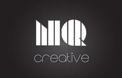 Lettre Logo Design With White de nq N Q et lignes noires Photo stock