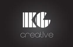 Lettre Logo Design With White du kilogramme K G et lignes noires Photographie stock