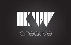 Lettre Logo Design With White du kilowatt K W et lignes noires Image libre de droits