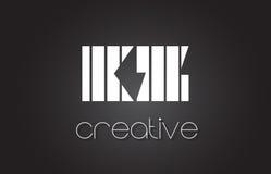 Lettre Logo Design With White du KZ K Z et lignes noires Photo stock