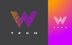 Lettre Logo Technology de W Dots Letter Design Vector relié Photos libres de droits