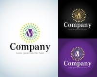 Lettre M Logo Template M Letter Design Vector avec des rayons Dactylographiez à des caractères les symboles de Logotype Illustrat Image stock