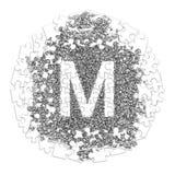 Lettre M Police fabriquée à la main dessinée avec le stylo graphique sur le backgro blanc Photo stock
