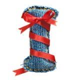 Lettre magique d'alphabet de jeans de vacances avec le ruban rouge Images libres de droits