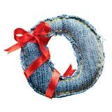 Lettre magique d'alphabet de jeans de vacances avec le ruban rouge Image libre de droits
