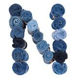 Lettre N faite de petit pain de jeans Photographie stock libre de droits
