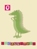 Lettre O oscillation Alphabet anglais de bande dessinée mignonne avec l'image et le mot colorés Photos libres de droits