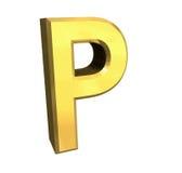 Lettre P de l'or 3d Images libres de droits