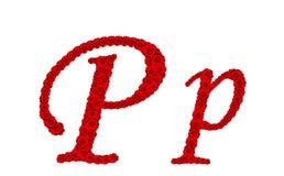 Lettre P et p d'alphabet faits à partir des fleurs de rose de rouge d'isolement sur le fond blanc Photos libres de droits